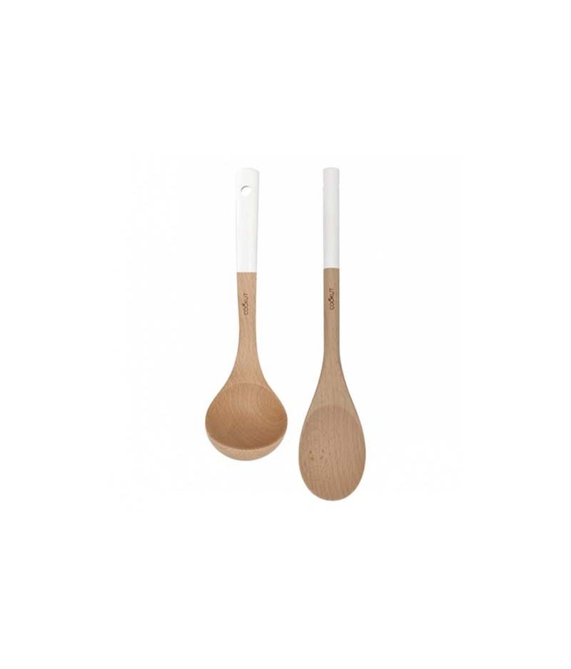 Set cuillère et louche en bois Blanche – Cookut