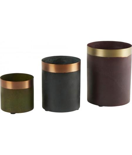 Vase Mona Vert/Bleu/Rouge Oxydé Set/3 H18,5/14,5/10cm - Athezza