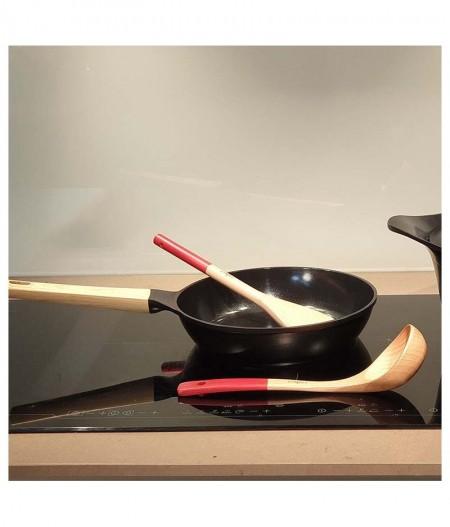 Poêle Extra Profonde 24 cm Blanche (Metal, Céramique, Poignée imitation bois) – Cookut