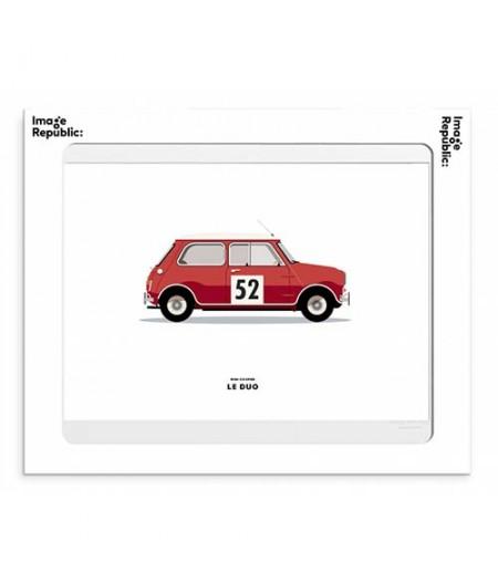 30x40 Cm Le Duo Voiture Mini Cooper Rouge - Affiche Image Republic
