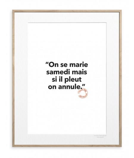 30x40 cm Loic Prigent 126 On Se Marie - Affiche Image Republic