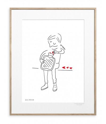 30x40 cm Soledad Amour Bouillotte - Affiche Image Republic