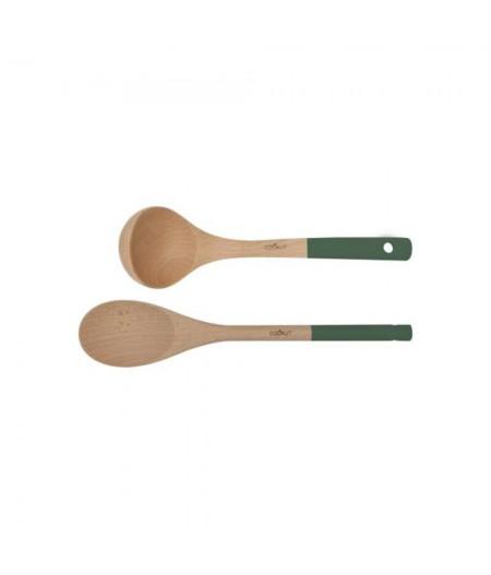 Set cuillère et louche en de hêtre coloris bois Vert - Fougère - Cookut