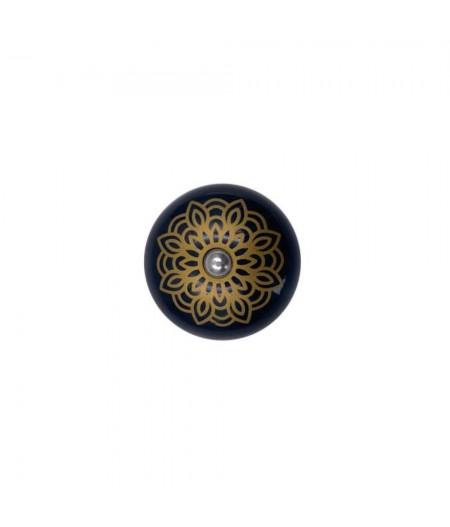 Poignée cocotte macaron céramique motif Floral Or - Cookut