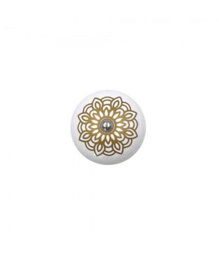 Poignée cocotte macaron céramique motif Géométrique Or - Cookut