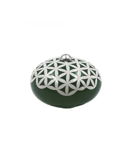 Poignée cocotte macaron céramique motif Géométrique Vert (fleur de vie) - Cookut