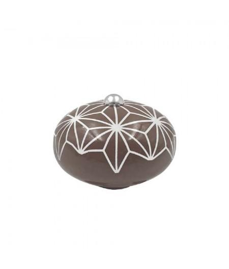 Poignée cocotte macaron céramique motif Etoile Chocolat - Cookut