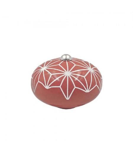 Poignée cocotte macaron céramique motif Etoile Rose - Cookut
