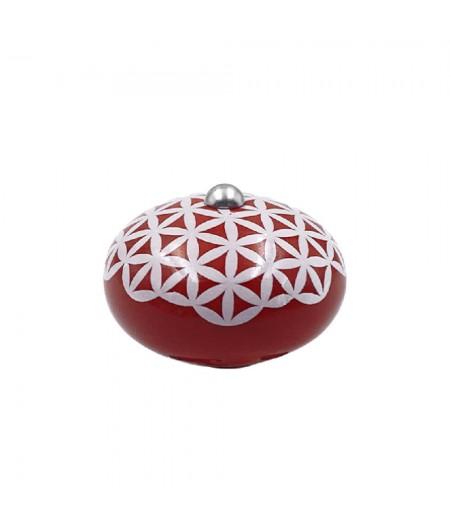 Poignée cocotte macaron céramique motif Géométrique Rouge (fleur de vie) - Cookut