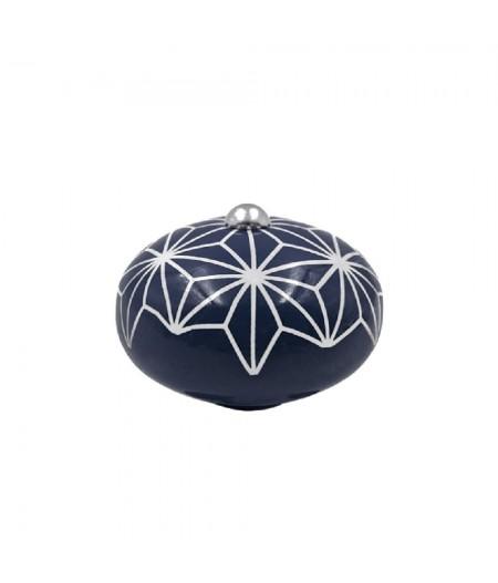 Poignée cocotte macaron céramique motif Etoile Bleu - Cookut