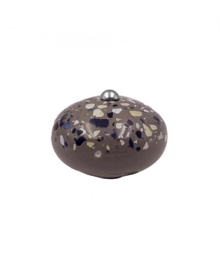 Poignée cocotte macaron céramique motif Terrazzo Chocolat - Cookut