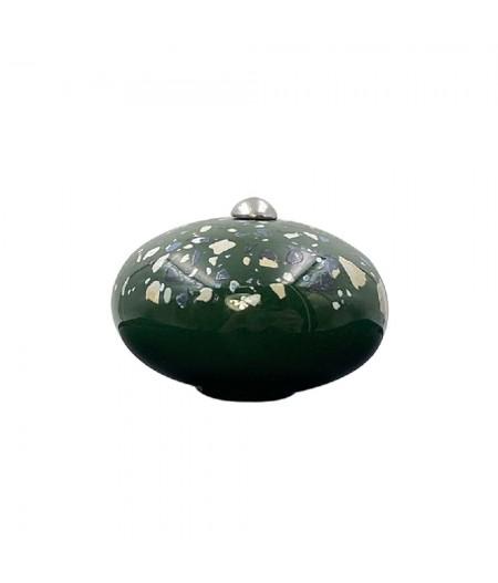 Poignée cocotte macaron céramique motif Terrazzo Vert - Cookut