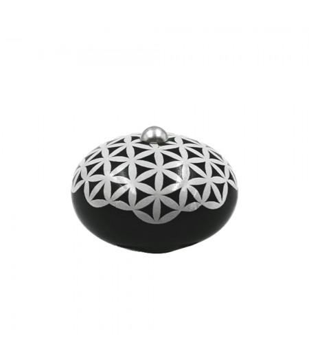 Poignée cocotte macaron céramique motif Géométrique Noir (fleur de vie) - Cookut